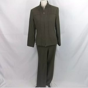 DONCASTER PANTS SUIT SIZE 10 ARMY GREEN FULL ZIP J